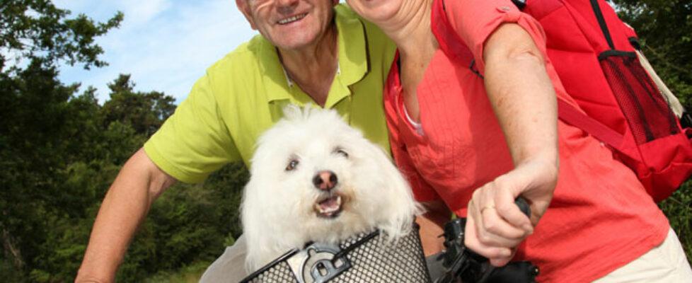 Biking couple with dog