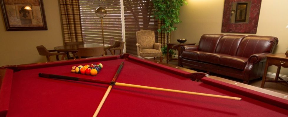 Billiards table in game room