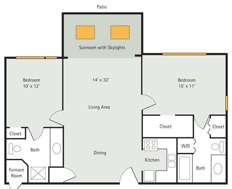 The Elm 2 Bedroom Apartment floor plan