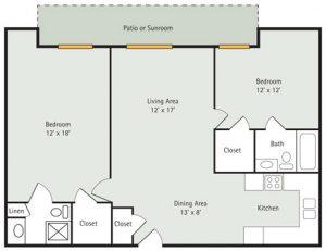 Evergreen 2 Bedroom Apartment Floorplan