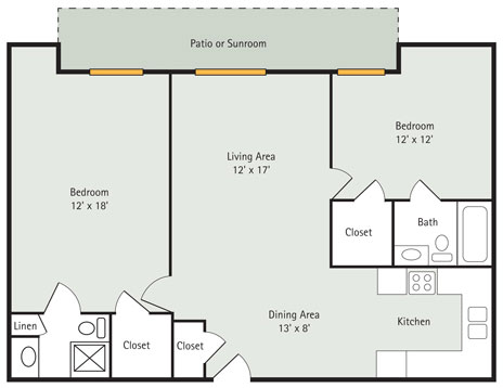 Evergreen 2 Bedroom Apartment Floorplan