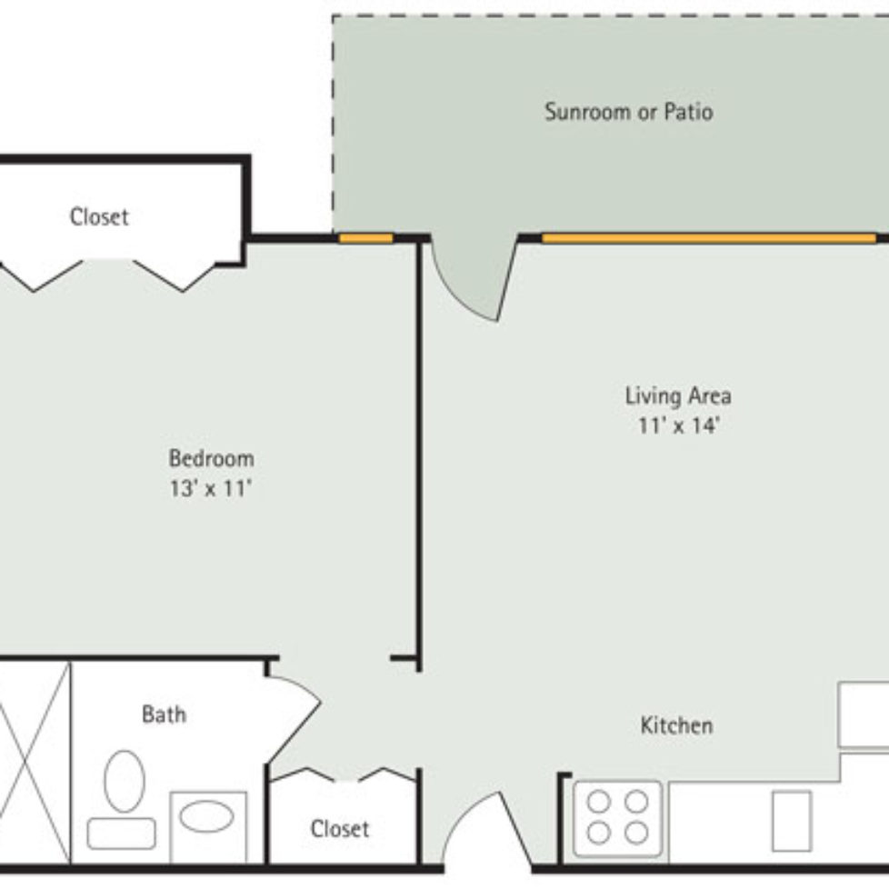 Hawthorn 1 Bedroom Apartment Floorplan