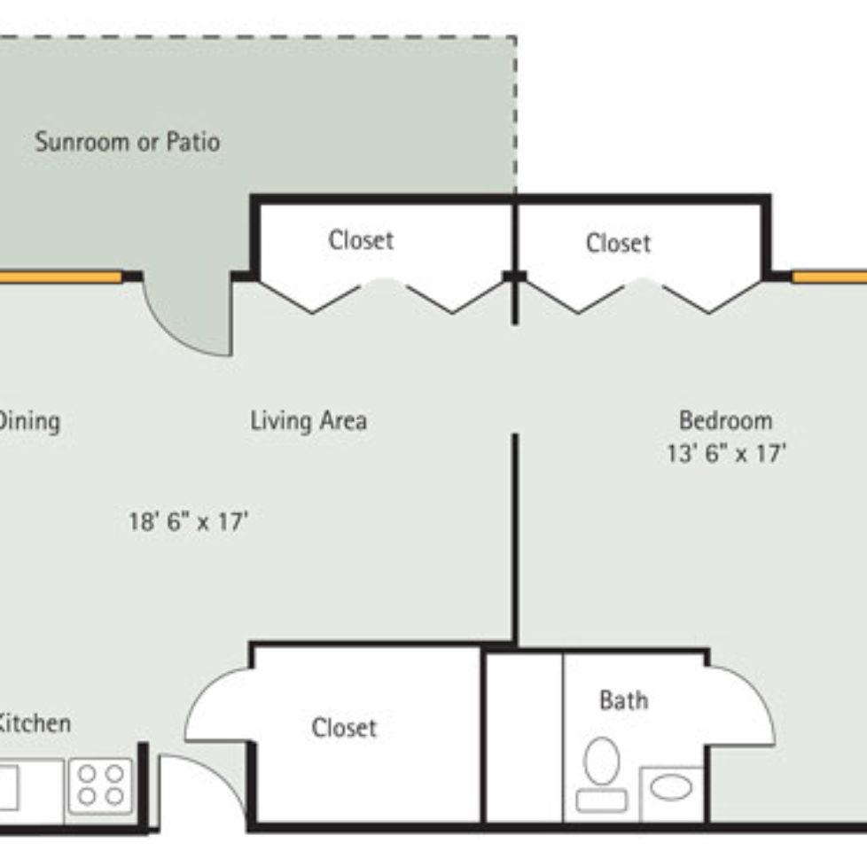 Hickory 1 Bedroom Apartment Floorplan