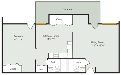 Magnolia 1 Bedroom Floorplan