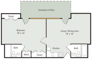 Pink Oak 1 bedroom apartment floorplan
