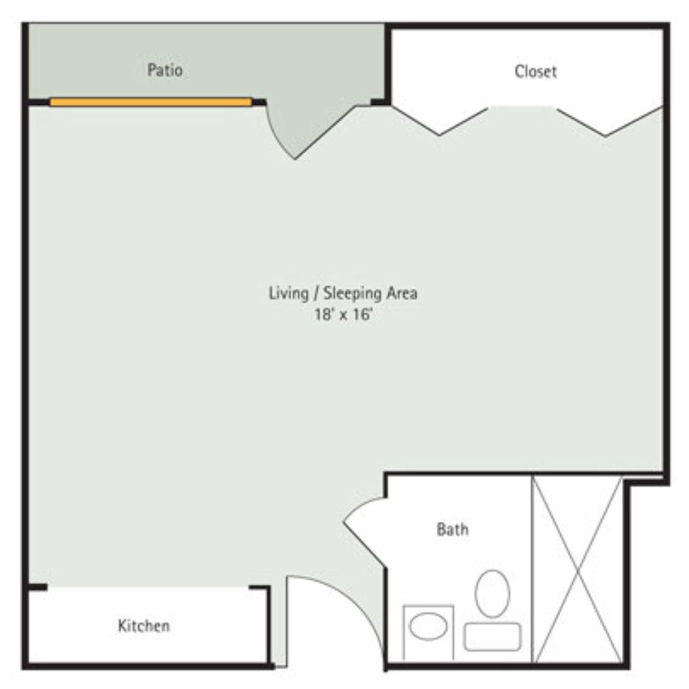 Redbud Studio Apartment Floorplan