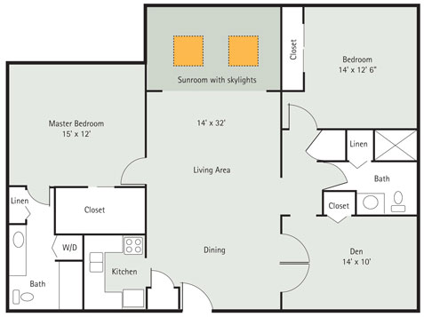 Blue Spruce 2 bedrooms   1 Den Apartment
