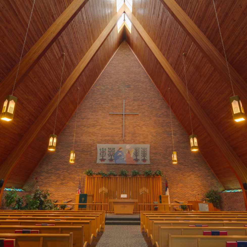 Inside of Chapel with high vaulted ceiling