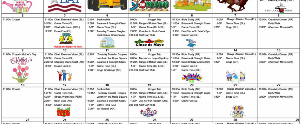 Four Season Activity Calendar - May 2021