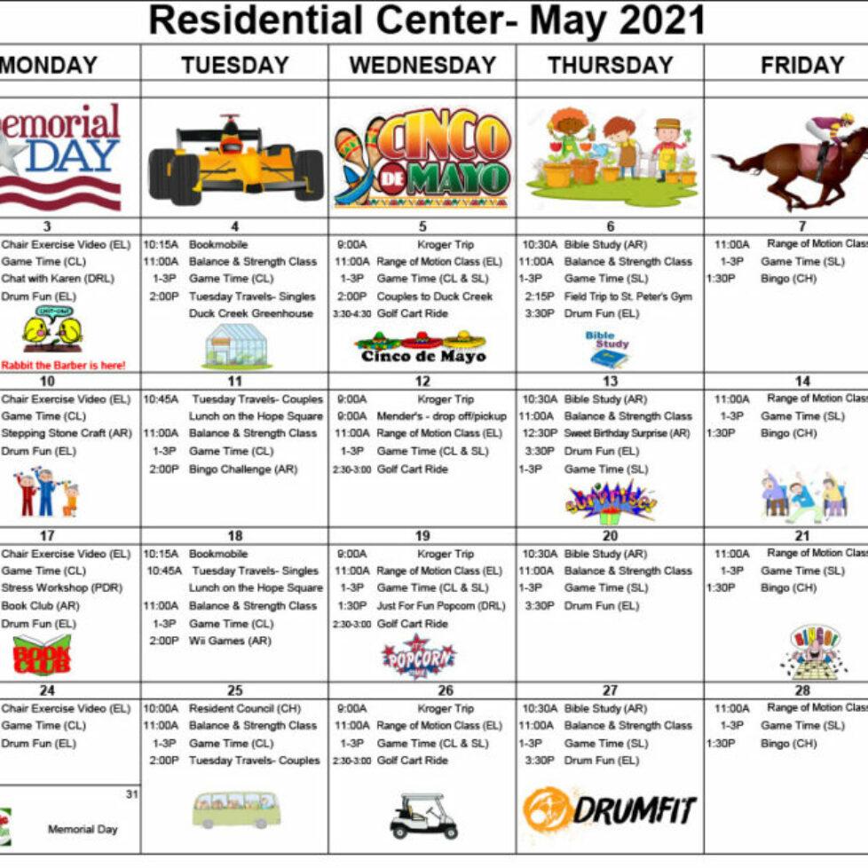 Four Season Activity Calendar - May 2021